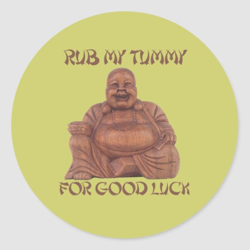 RUB MY TUMMY ROUND STICKERS