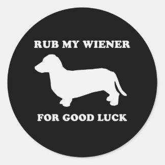 Rub my wiener for good luck classic round sticker