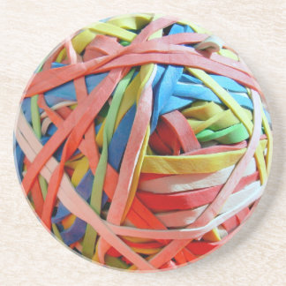 Rubber band ball beverage coaster
