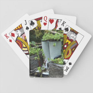 Rubber Boot Planter playing cards