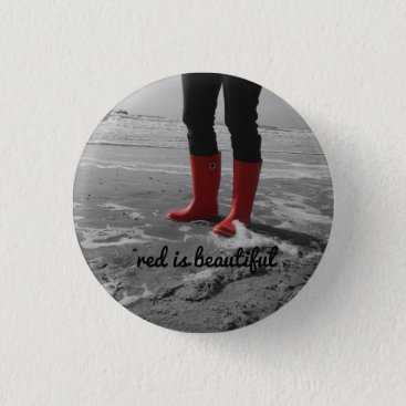 Beach Themed Rubber boots can be mad pinback button