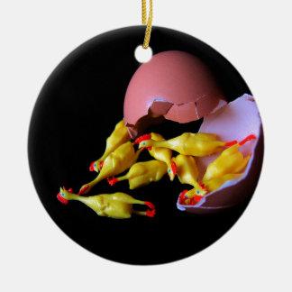 Rubber Chicken Hatchling Ceramic Ornament