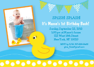 Duck birthday invitations zazzle rubber duck 1st birthday invitation filmwisefo