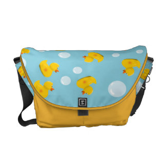 Rubber Duck and Bubble Pattern Courier Bag
