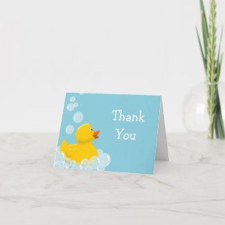 Rubber Duck and Bubbles Baby Shower Thank You