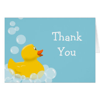 Rubber Duck and Bubbles Baby Shower Thank You Stationery Note Card