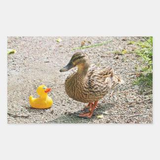 Rubber Duck and Mother Duck Rectangular Sticker