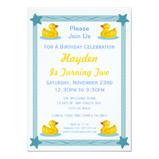 Rubber Duck and Stars Kids Birthday Party Card