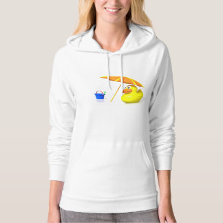 Rubber duck at the beach hooded pullover