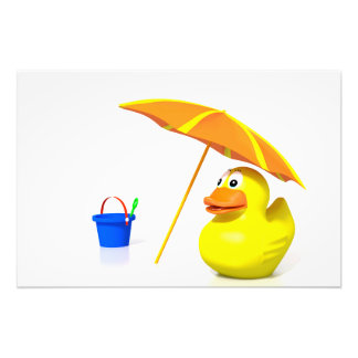 Rubber duck at the beach photo print
