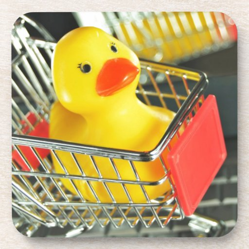 Rubber duck baby shopping concept coasters