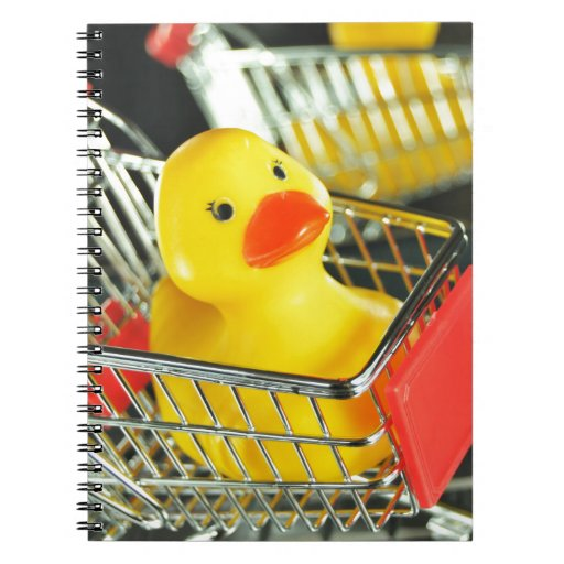 Rubber duck baby shopping concept notebooks