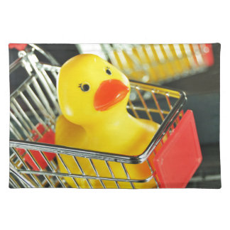 Rubber duck baby shopping concept place mat