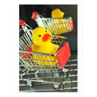 Rubber duck baby shopping concept postcard