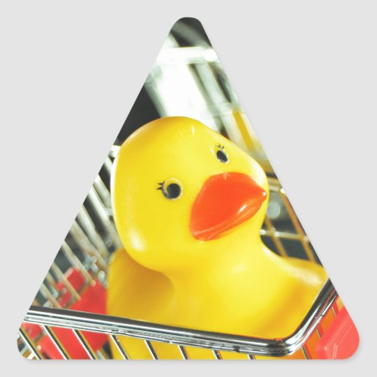 Rubber duck baby shopping concept triangle sticker