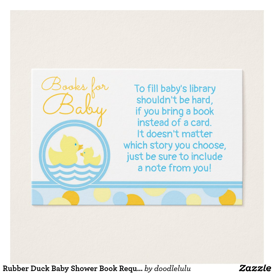 Rubber Duck Baby Shower Book Request Card