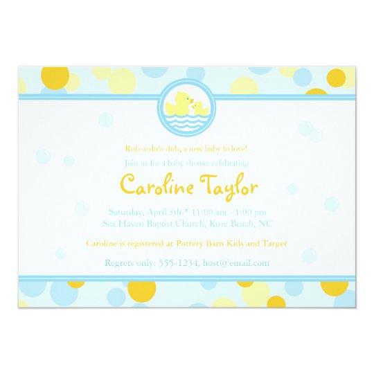 Rubber Duck Baby Shower Invitations Blue Yellow Zazzle Com