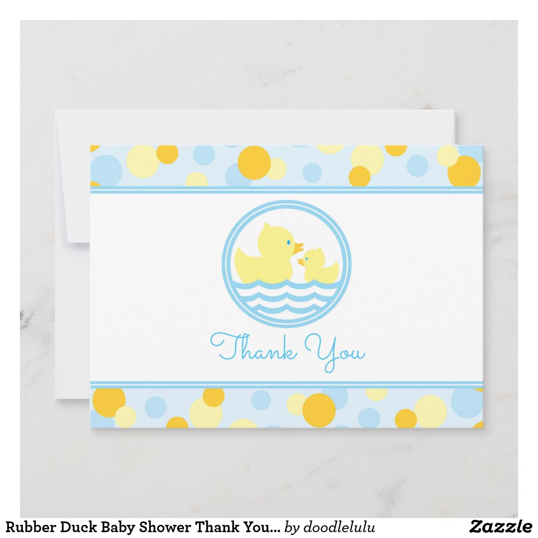 Rubber Duck Baby Shower Thank You blue and yellow