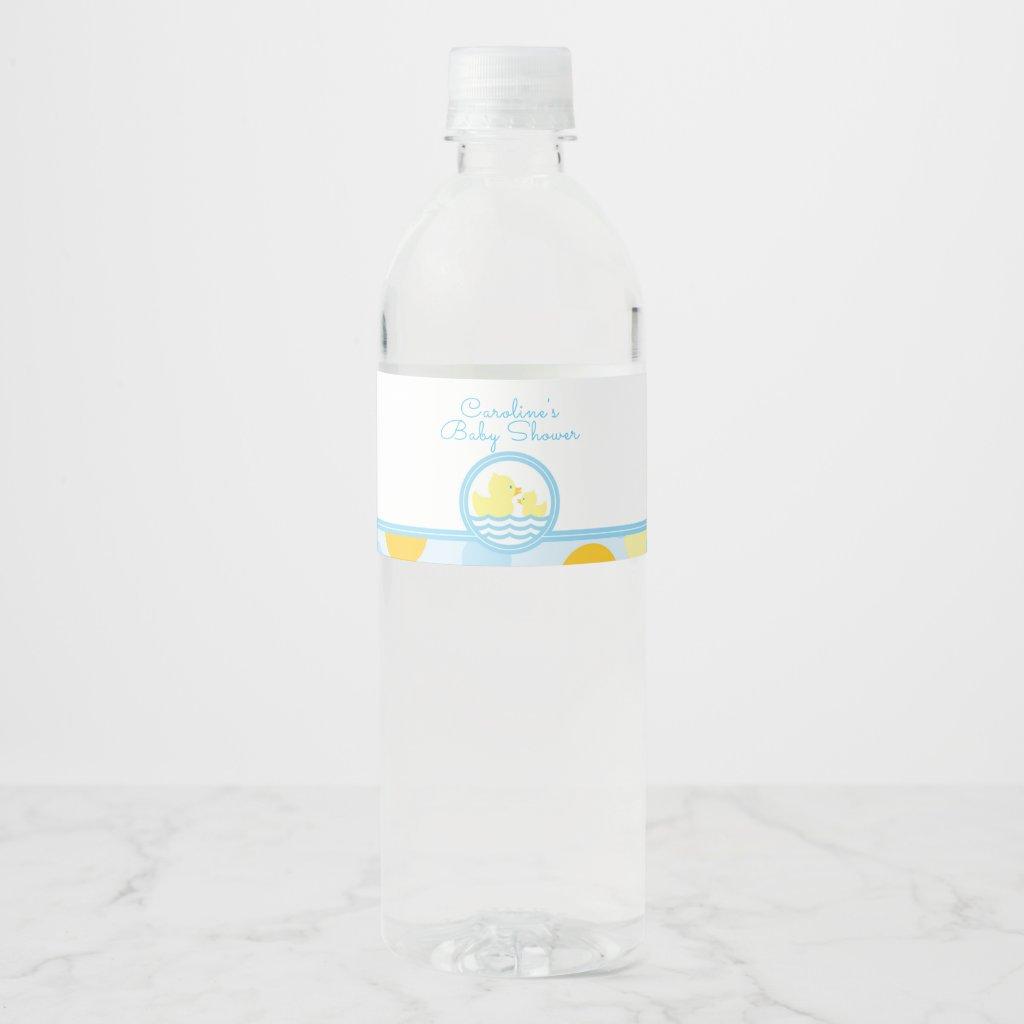 Rubber Duck Baby Shower Water Bottle Label
