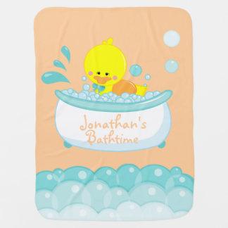 rubber duck bath time customizable baby blanket