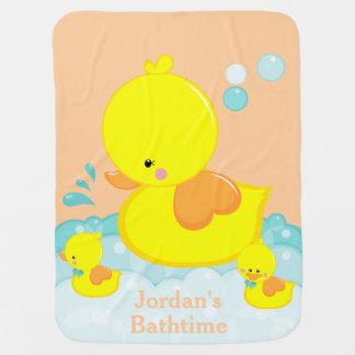 rubber duck bath time customizable baby blanket 2