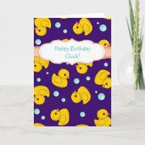 Rubber Duck birthday card - cute duckies pattern