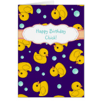 Rubber Duck birthday card - cute duckies pattern