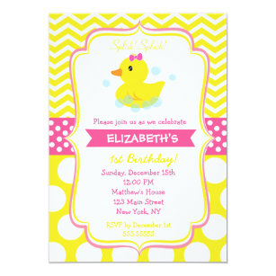 Duck invitations zazzle rubber duck birthday party invitations stopboris Image collections