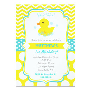 Duck birthday invitations announcements zazzle rubber duck birthday party invitations stopboris Image collections