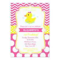 Rubber Duck Birthday Party Invitations girl
