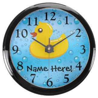 Rubber Duck Blue Bubbles Personalized Kids Aquarium Clock