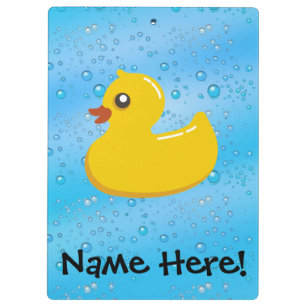 e7541b63027d3 Rubber Duck Blue Bubbles Personalized Kids Clipboard