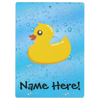 Rubber Duck Blue Bubbles Personalized Kids Clipboard