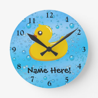 Rubber Duck Blue Bubbles Personalized Kids Round Wall Clocks
