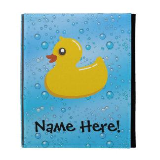 Rubber Duck Blue Bubbles Personalized Kids iPad Case