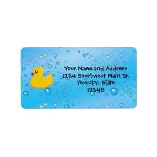 Rubber Duck Blue Bubbles Personalized Kids Address Label