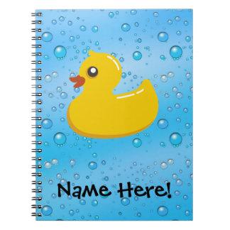 Rubber Duck Blue Bubbles Personalized Kids Notebook