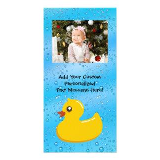 Rubber Duck Blue Bubbles Personalized Kids Photo Cards