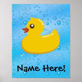 Rubber Duck Blue Bubbles Personalized Kids Poster