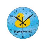 Rubber Duck Blue Bubbles Personalized Kids Round Clock