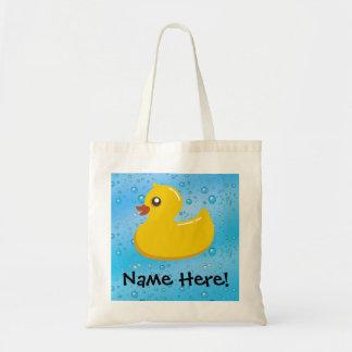 Rubber Duck Blue Bubbles Personalized Kids Tote Bag