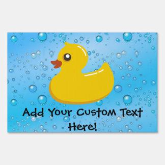 Rubber Duck Blue Bubbles Personalized Kids Sign