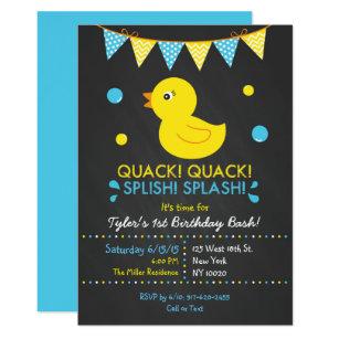 Duck birthday invitations zazzle rubber duck chalkboard 1st birthday invitation filmwisefo