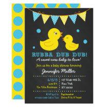 Rubber Duck Chalkboard Baby Shower Card