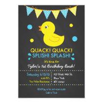 Rubber Duck Chalkboard Birthday Invitations