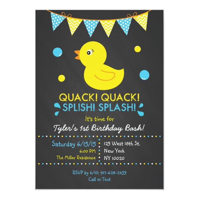 Rubber Duck Chalkboard Birthday Invitations Zazzle