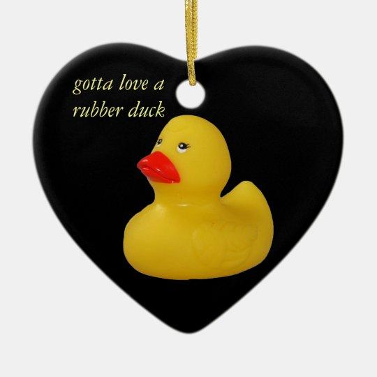 Rubber duck cute fun yellow ornament, gift idea ceramic ornament