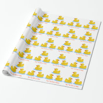 Rubber Duck Duckies Swimming Optional Custom Text Wrapping Paper
