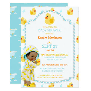Duck invitations zazzle rubber duck ducky african american gender neutral invitation stopboris Image collections