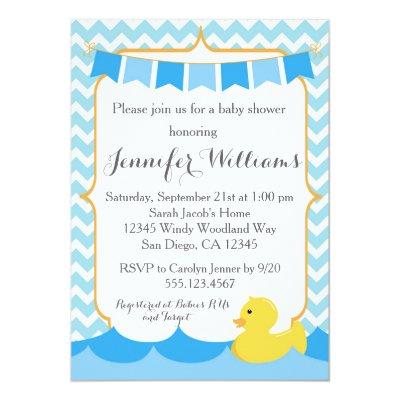 Duck Baby Shower Invitation Rubber Duck Invite Zazzlecom